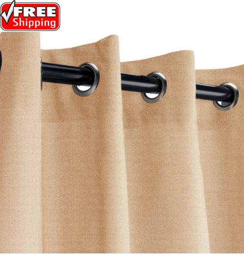 Sunbrella Outdoor Curtain with Stainless Steel Grommets - Canvas Camel